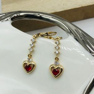 Heart dangle earrings gold plated jewelry